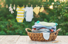 Washing Baby Clothes. Linen Dries In The Fresh Air. Selective Focus.