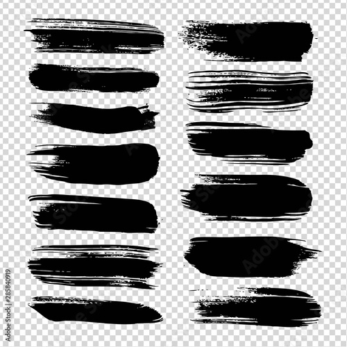 Black straight brushstrokes textured big set isolated on imitation transparent background