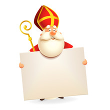 Saint Nicholas With Board - Isolated On White Background