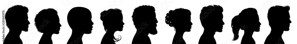 Fototapety, obrazy: Group young people. Profile silhouette faces boys and girls set – for stock