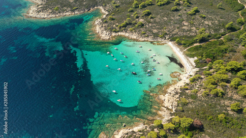 Aerial drone panoramic photo of iconic exotic bay known as blue lagoon in Diapor Fototapete