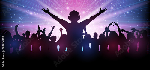 Dj and party people in club dance to the music – stock vector Fototapet