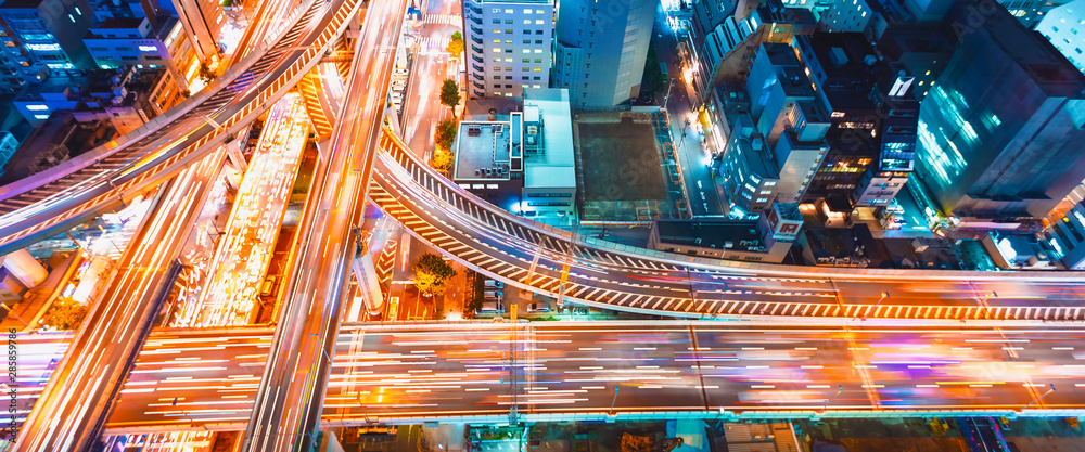 Fototapeta Aerial view of a massive highway intersection in Osaka, Japan