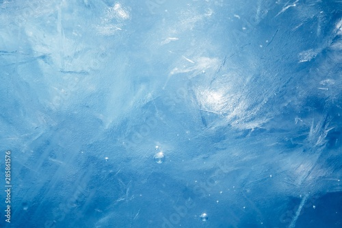 blue frozen texture of ice - 285861576