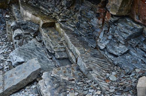 Fotografia Broken Slate Pieces Showing Fossil Wave Patterns Joggins Fossil Cliffs Nova Scot