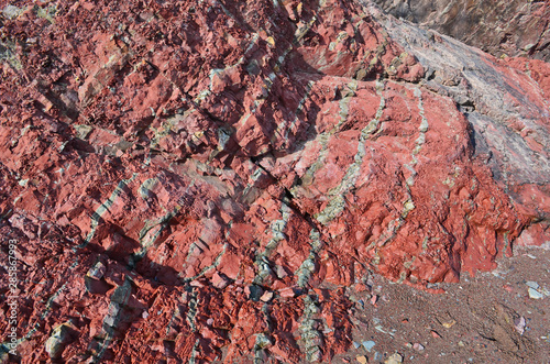 Red and Gray Rock Striations at Minas Basin Bay of Fundy Nova Scotia Canvas-taulu