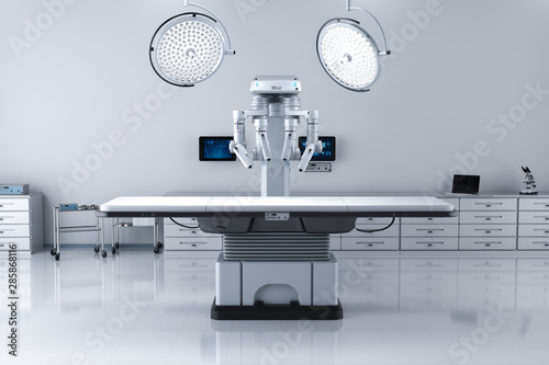 Fotomural surgery room with robotic surgery