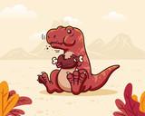 Fototapeta Dinusie - Cute T-Rex eating
