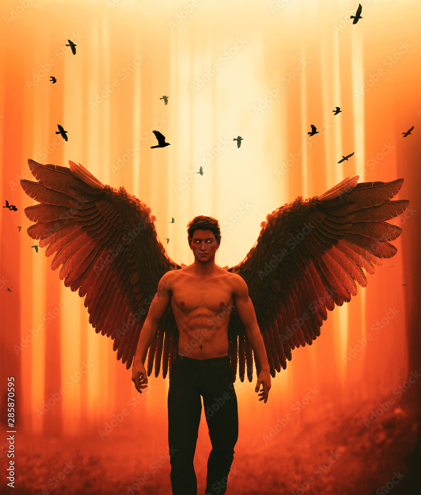 Fototapeta An angel in mystic forest,3d illustration