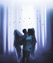 An Angel And The Woman In Mystic Forest,3d Illustration