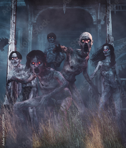 Fotografía Zombies awaken,Undead from a long time land,3d illustration for book cover