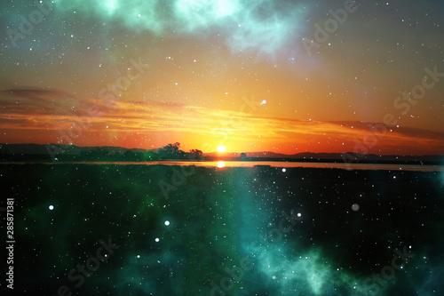 Obraz Beautiful Abstract Art With Sunrise & Galaxy  - fototapety do salonu