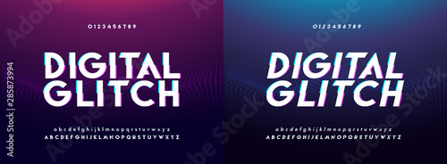 Photo Abstract glitch digital alphabet font and number