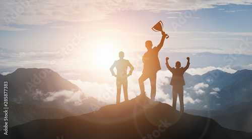 Achievement and Business Goal Success Concept - Creative business people with icon graphic interface showing employee reward giving for business success achievement Fotobehang
