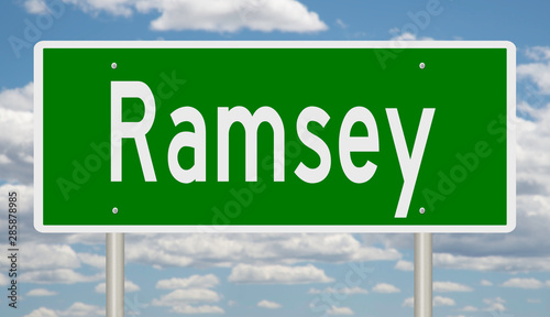Photo  Rendering of a green highway sign for Ramsey  Minnesota