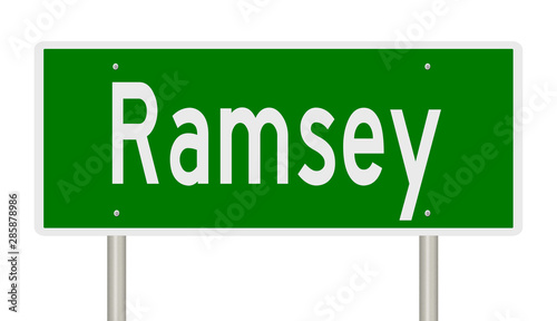 Rendering of a green highway sign for Ramsey  Minnesota Wallpaper Mural