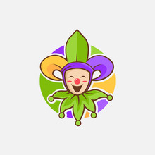 Fun Jester With Fleur De Lis Hat Logo Icon Vector Template On White Background. Mardi Gras Logo