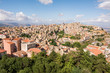 Panoramic aerial view of Enna old town, Sicily, Italy. Enna city located at the center of Sicily and is the highest Italian provincial capital