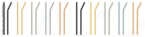 Carta da parati  Set metal straw for drinks. Ecological material.