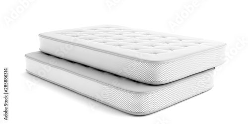 Mattresses two single isolated on white background Fototapete
