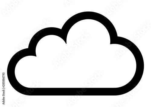 gz430 GrafikZeichnung - german: Wolke / english: cloud - close-up - simple icon Fotobehang