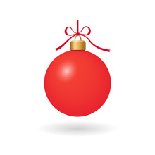Christmas Tree Ball With Ribbon Bow. Red Bauble Decoration, Isolated On White Background. Symbol Of Happy New Year, Xmas Holiday Celebration, Winter. Flat Design For Card. Vector Illustration