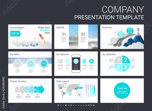 Fotografija Presentation slide template for your company with infographic elements, design cover all styles and creative used to provide your audience with a quick overview of your business plan idea to investor