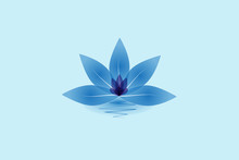 Blue Lotus Beautiful Flower And Water Logo Icon Vector Design