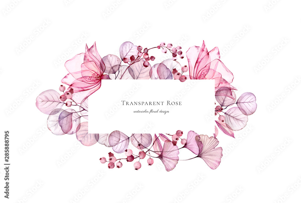 Fototapety, obrazy: Watercolor Transparent floral bouquet arrangement of roses, leaves, purple berries and branches. Hand painted vintage frame for text and wedding stationery design
