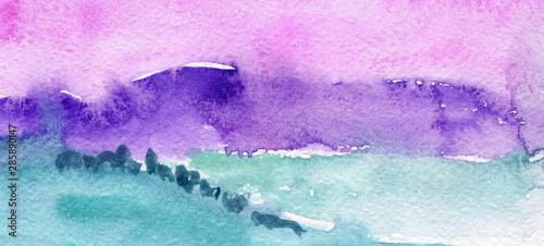 Printed kitchen splashbacks Purple Hand Drawn Abstract Watercolor Landscape