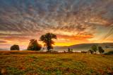 Fototapeta Natura - Magestic sunset in the carpatian mountains. Natural autumn landscape.