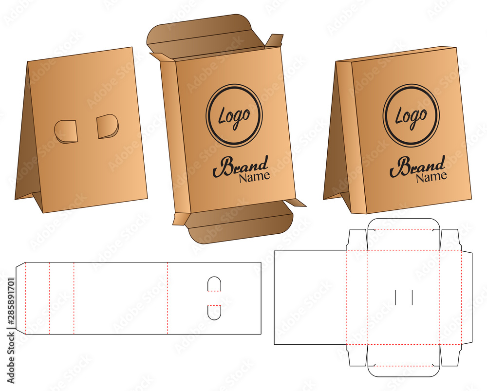 Fototapety, obrazy: Box Stand packaging die cut template design. 3d mock-up