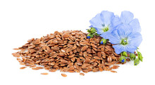 Heap Of Flax Seeds And Flowers
