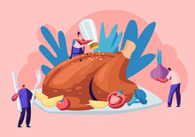 Happy Male And Female Characters Cooking Huge Thanksgiving Turkey Flavoring With Vegetables, Spices And Salt. Men And Women Family And Friends Autumn Holiday Dinner Cartoon Flat Vector Illustration