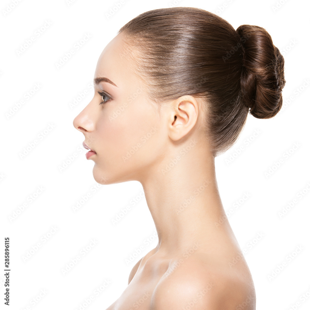 Fototapeta Profile face of  young  woman with clean skin