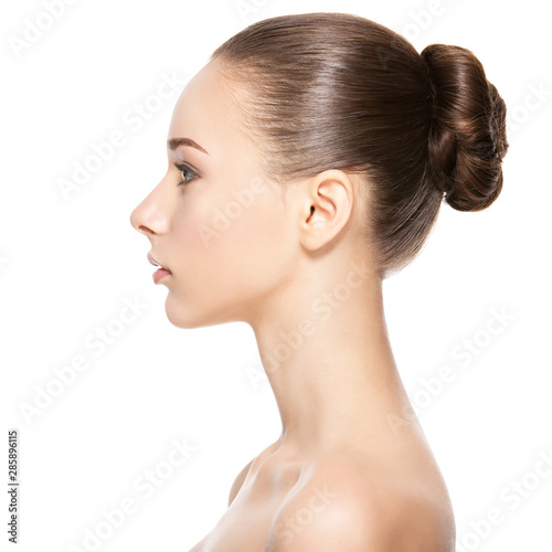 Fototapeta Profile face of  young  woman with clean skin obraz