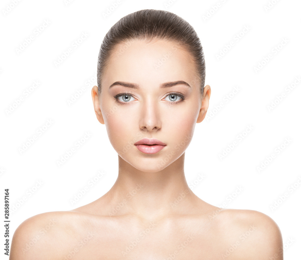 Fototapeta Beautiful face of young woman with healthy clean skin