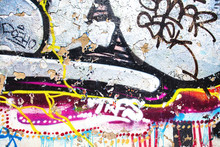 Closeup Of Texture Damaged Colorful Graffiti Wall