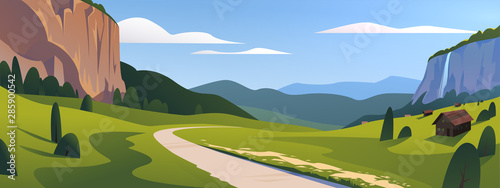 Canvas Prints Blue sky Vector flat summer landscape illustration, wild nature view: sky, mountains, meadow, road, village. For car travel banner, road trip card, touristic advertising, vacation brochure, flayer, etc.