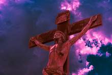 Crucifix Lit By Red Bloody Lig...