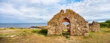Salomons Kapel, Medieval Church Ruin On The Coast Of The Baltic Sea, Bornholm, Denmark