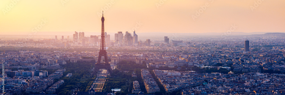Fototapety, obrazy: High resolution aerial panorama of Paris, France taken from the Notre Dame Cathedral before the destructive fire of 15.04.2019. The river Seine. Aerial view of Paris at sunset. Paris, France.