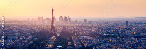 High resolution aerial panorama of Paris, France taken from the Notre Dame Cathedral before the destructive fire of 15.04.2019. The river Seine. Aerial view of Paris at sunset. Paris, France. - 285901517