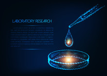 Futuristic Laboratory Research Concept With Glowing Low Polygonal Pipette Liquid Drop And Petri Dish