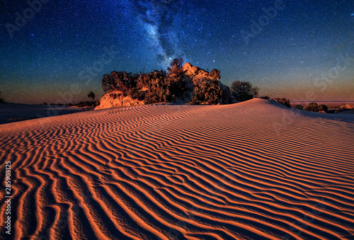 Sand dunes under starry night sky Canvas