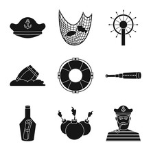 Vector Illustration Of Journey And Seafaring Symbol. Set Of Journey And Adventure Stock Symbol For Web.