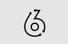 Number 6 Logo Design With Line And Dots