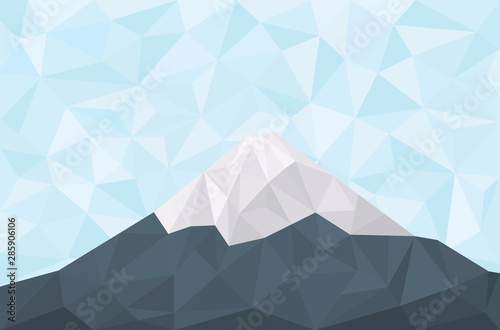 Geometric polygonal mountain. Triangular landscape with fuji mountain peak and blue sky