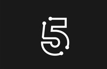 5 Number Black And White Logo Design With Line And Dots