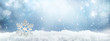 canvas print picture - Festive winter snow background with snowdrifts, silver decorative snowflake with beautiful light and snow flakes on blue sky, banner format, copy space.